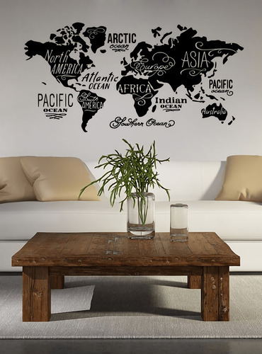 Vinilos Decorativos Para Paredes Modernos Mapa Del Mundo