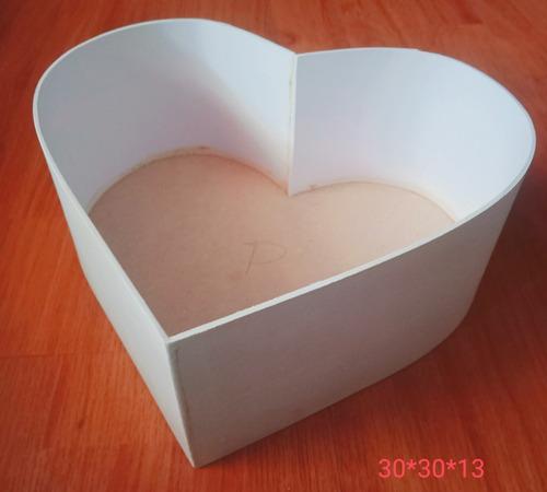 Caja Corazón Madera Mdf Crudo 30*30*13 Flores Celebracion