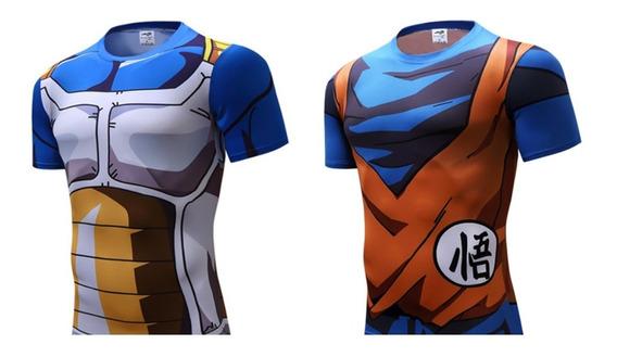 Playera Dragon Ball 3d Print Saiyan Goku Vegeta Gym Anime