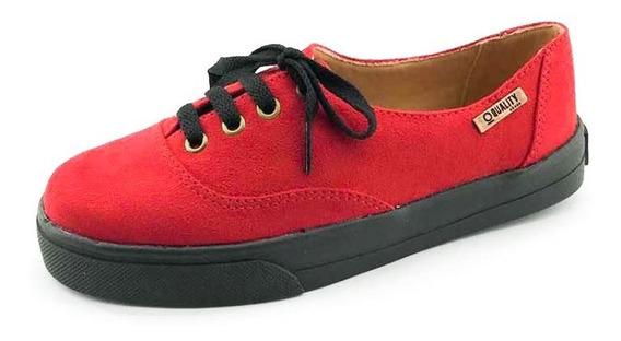 Tênis Quality Shoes Feminino 005 Camurça Vermelho Sola Preta