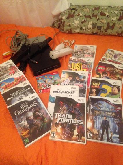 Vídeo Game Wii Completo Com 14 Jogos