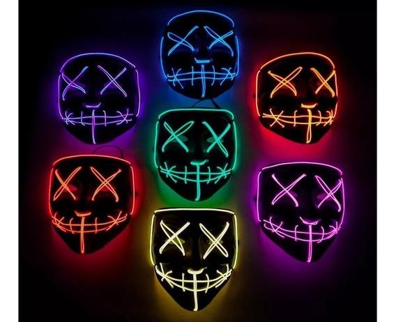 Mascara Luminosa Led La Purga Eventos Fiestas Cotillon