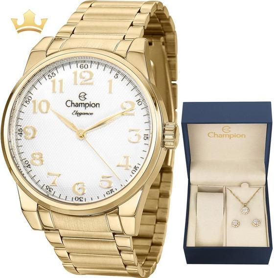 Relógio Champion Feminino Kit Cn25010w Com Nf