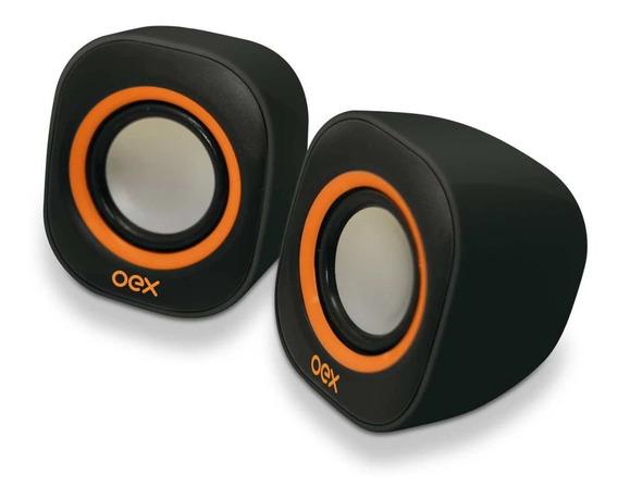 Caixa Acústica Para Computador Speaker Round 8w Usb/p2 Pt/lj