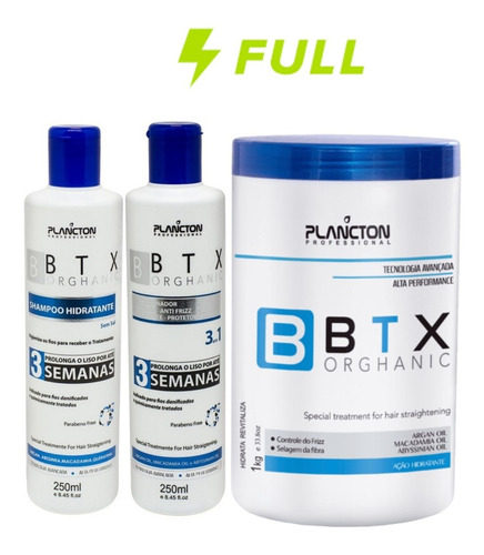 Kit 3 Semanas Alisamento Capilar Btx Plancton Orghanic 1kg