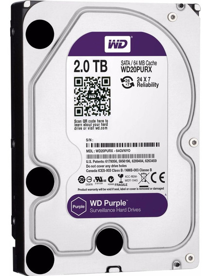 Hd Western Digital 2tb Purple Cft 24/7 Sata Iii 6mb Wd20purz