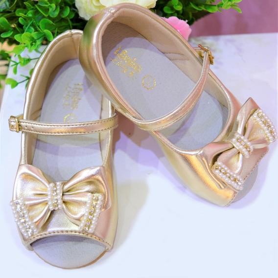Sapato Infantil De Festa Para Menina Dourado