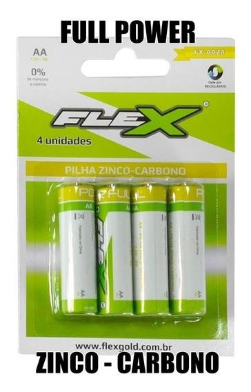 4 Pilhas Aa Pequena Flex Zinco Carbono Top Duracell Gp Elgin
