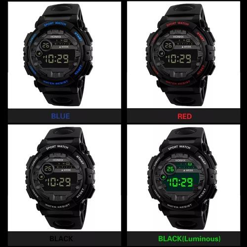 Reloj Digital Honhx, Cronometro, Luz Led, Amarillo Y Naranja