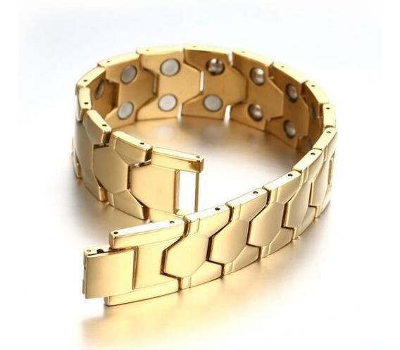 Bracelete Pulseira Magnética Masculina Banhado Ouro 18k