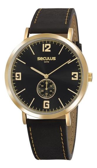 Relógio Seculus Unissex 20763gpsvdc1 - Preto E Dourado