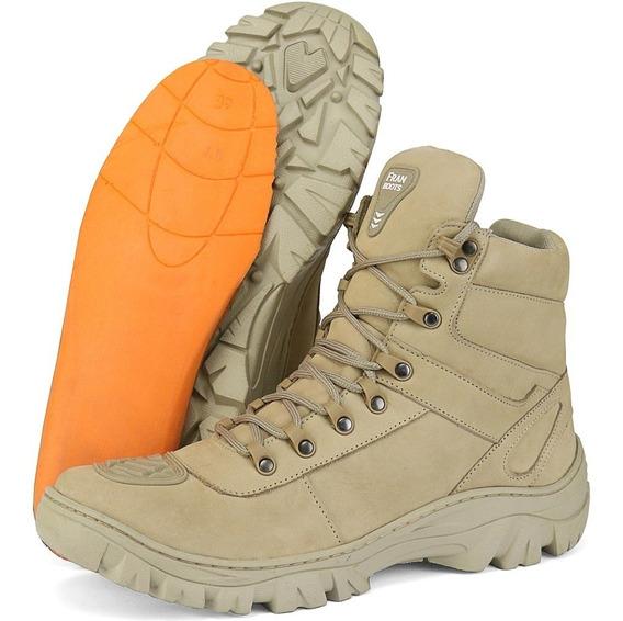 Bota Coturno Militar Moto Cano Longo Couro Fran Boots