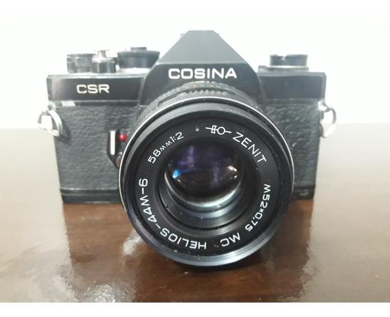 Camera Antiga 35mm Cosina Com Lente Zenit Para Decoração!