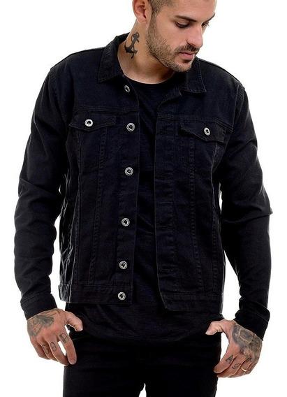 Jaqueta Jeans Premium Casaco Preto Masculina Slim Fit Offert