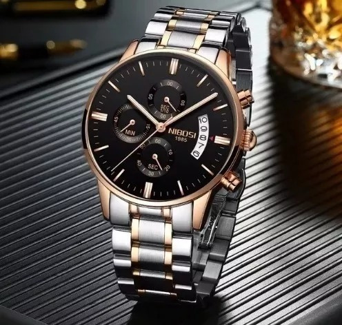 Relógio Original Nibosi Masculino Luxo Prata Com Bronze