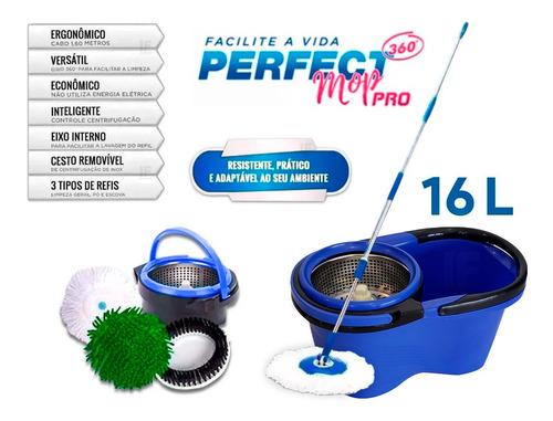 Imagem 1 de 5 de Balde Perfect Mop Pro 360 Inox C/3 Refis