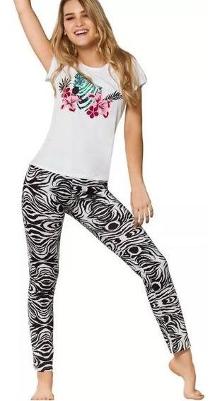Pijama Pantalón Blanco/ Gris Estampado 4838 Vicky Form