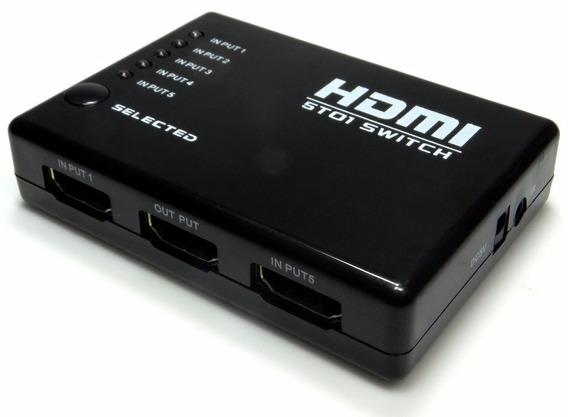Chaveador Hub Switcher Hdmi 5x1 Pc Xbox Ps3 Controle Remoto