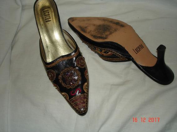 Zapatos De Cuero Bordados Sin Talon