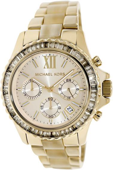 Relógio Michael Kors Mk5874 Everest Dourado Cristais Eua