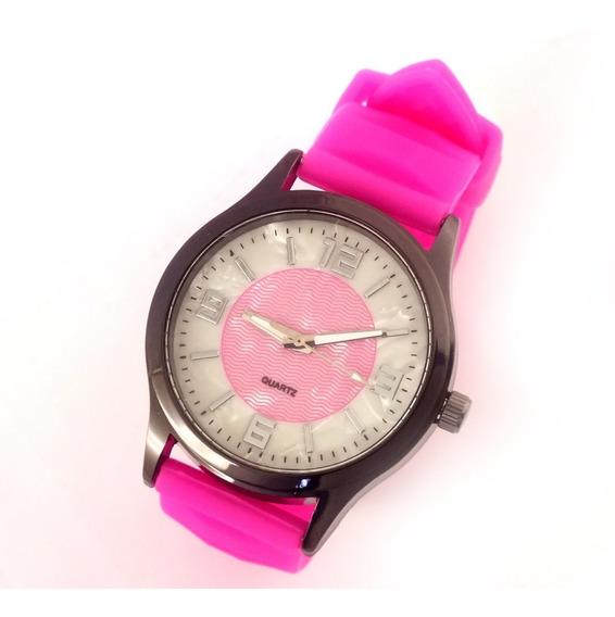 Relógio Feminino Quartz Com Pulseira Rosa Em Borracha B5623