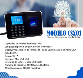 Reloj De Asistencia Biométrica Csx01