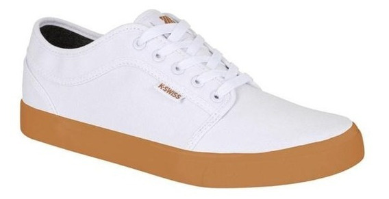 Tenis Kswiss Caballero Sneaker Casual Blanco Con Cafe Kbf025