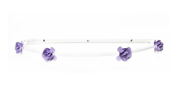 Dossel Parede Liso Com Flores Lilás Quarto Bebê Menina