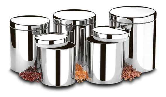 Conjunto De Potes Para Mantimentos Com Tampa Inox
