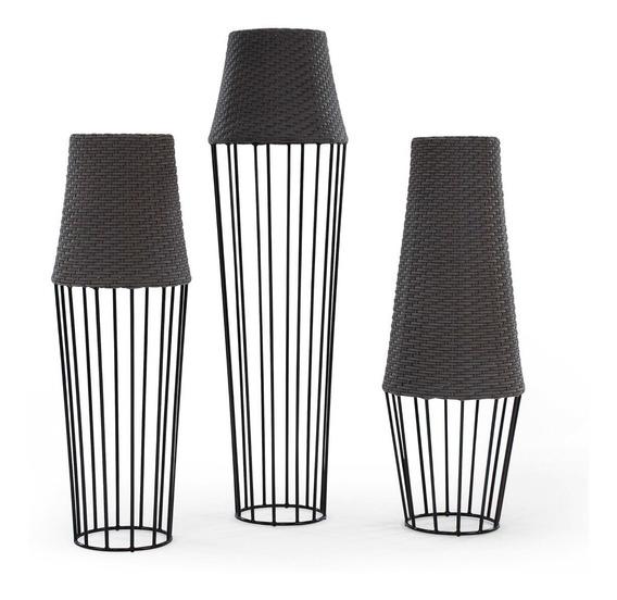 Kit 3 Lustre Luminárias De Chão Alumínio E Fibra Sintética