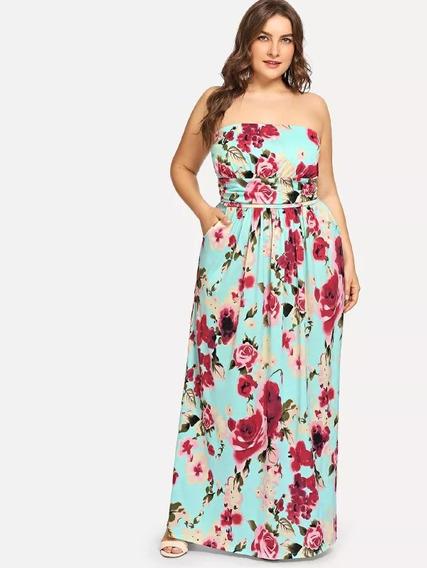 Vestido Strapless Con Estampado Floral Talla Extra M438