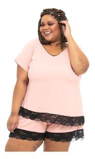 Blusa Pijama Plus Size Wonder Size Renda Rosa