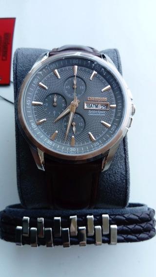 Relógio Champion Spidersport + Pulseira De Couro
