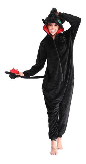 Macacao Kigurumi Pijama Dragao Banguela Furia Da Noite