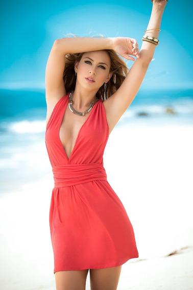 Mini Vestido Escotado Playa Salida De Playa Coral 4934