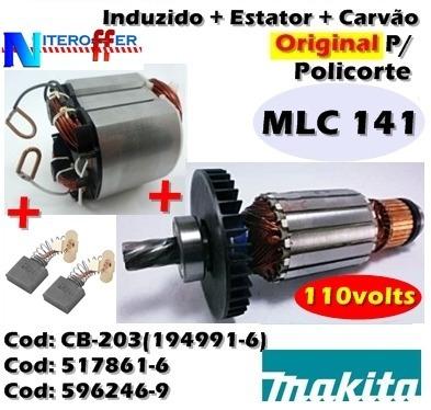 Induzido + Estator + Carvão Original Mlc 141 110v Makita