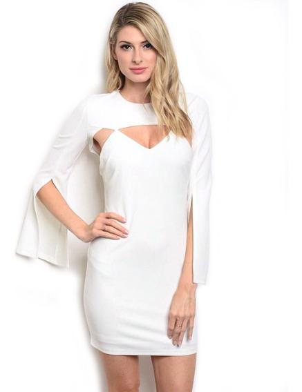 Vestido Corto Blanco, Manga Capa, Escote V, Cuello Redondo.