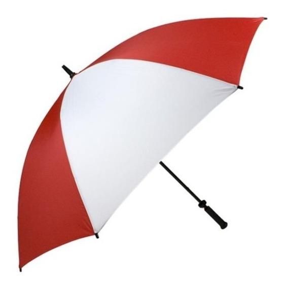 Paraguas Grande Blanco Con Rojo Único Con Sistema Wind Proof