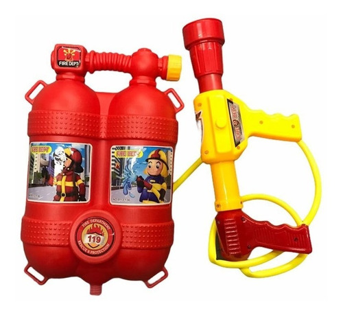 Mochila Pistola De Agua Bombero Infantil Pileta