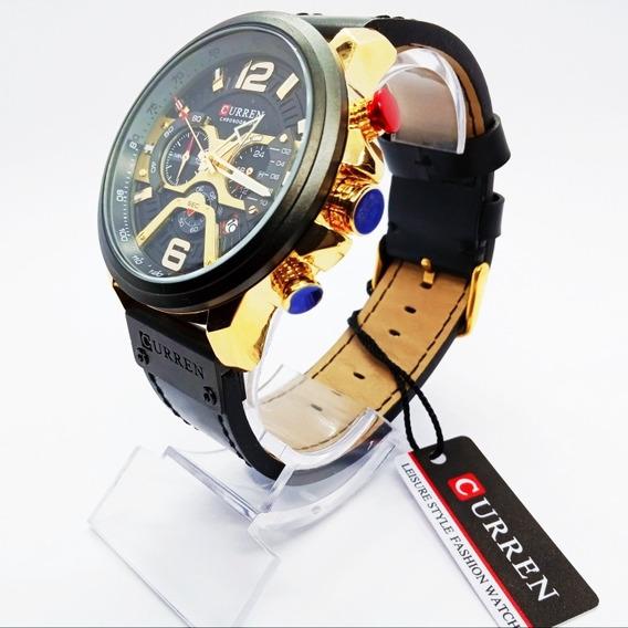 Relógio Esportivo Luxo Curren Pulseira De Couro Original , Imponente E Cheio De Estilo,modelo 2019 Assista O Vide-o