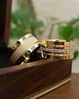 Alianças Casamento/ Noivado Ouro 18k Luxo Com Anel Solitario
