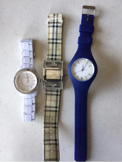 Reloj Fossil, Jari Y Azul; Con Detalles Precio X Los 3