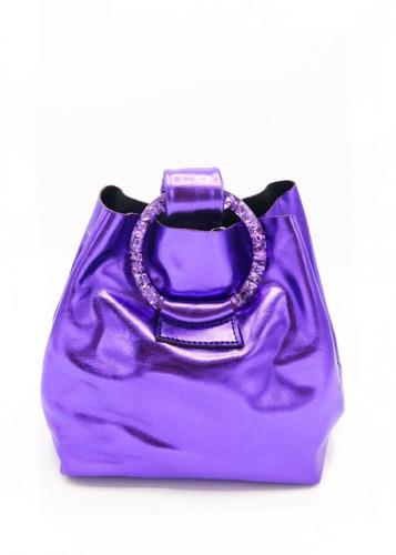 Cartera Sorrento Metalizada Violeta Las Pepas