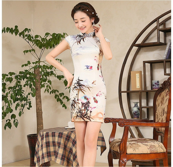Vestido Oriental Estampado Cetim De Seda Modelo 03