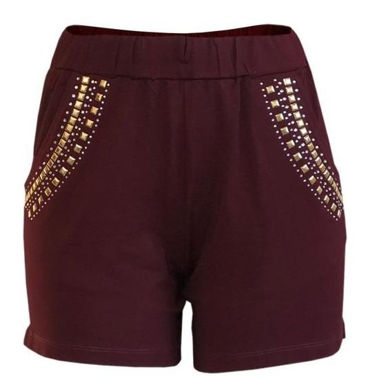 Shorts Feminino Plus Size Amarrar Pedraria Soltinho Atacado