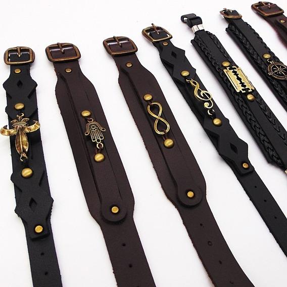 Kit Com 50 Bracelete Couro Fivela Masculino Revenda Atacado