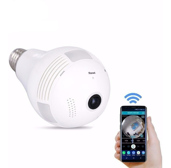 Lâmpada Câmera Espiã Panorâmica Vr Cam Led Wifi 360° Celular