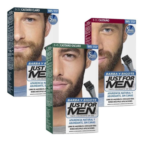 Just For Men Colorante Barba Y Bigote Cubre Canas Pack 3un