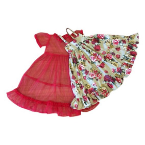ca59a41ae6 Vestido Floral Com Flores Vermelhas -vestido Infantil