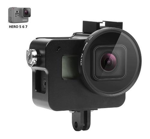 Case De Alumínio + Filtro Uv 52mm - Gopro 7 6 5 Black